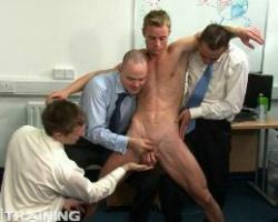 Blonde office boy stripped off his clothes by his gay offiemates