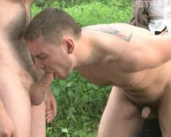Bound guy fprced to fuck and taking a huge cumshot on his face.