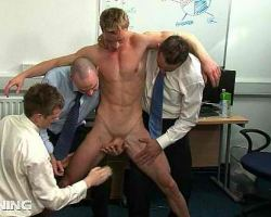 Corporate gays forced to undress a newbie and sucking his genital