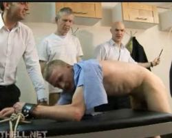 Experienced punisher's spank guy butt for hazing inside the office