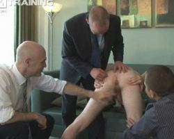 Full clothed office boy fucked by superiors