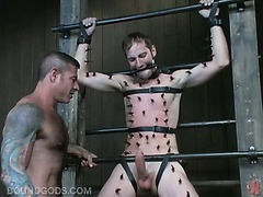 Gay ass punishers spanks the butt cheeks of this corporate gay guy