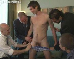 Gay officeworkers welcomes a newbie and they forced him to undress