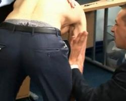 Hellish hot men strip guy in the office
