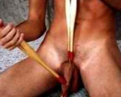 Horny gay torturing his own cock with clips