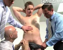 Hot new guy in the office forced to strip