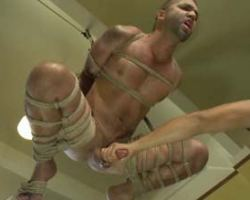 Man on bondage got hanged up high and  abused