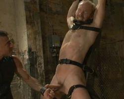 Matured guy  in BDSM sex den sex torture