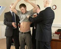 Newbie in the office gets some gay discipline