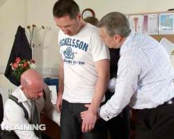 Office gay boys forcibly stripped a newbie and they suck and fuck his holes