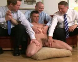 Office gay guys terrorizing a new twink co worker