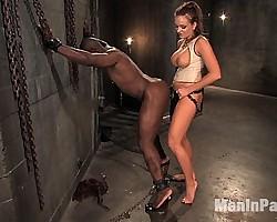 Sadistic goddess flogs, ass fucks, and drains her black slave