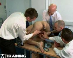 See this gay guys feasts on a newbie office worker cock and anal hole