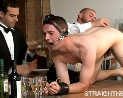 Sexy twink got tortured by bald gay men.