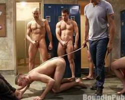 Straight guy became a sex slave with lots of gay men in a locker room