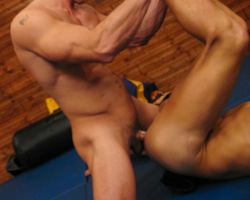 Two boxers kinky sex in the mat